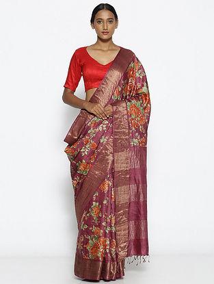 Purple-Red Printed Tussar Silk Saree with Zari