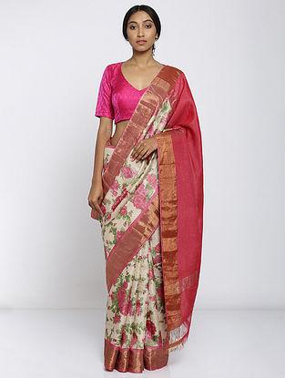 Ivory-Pink Printed Tussar Silk Saree with Zari