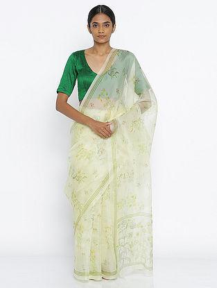 Ivory-Green Printed Organza Saree with Zari