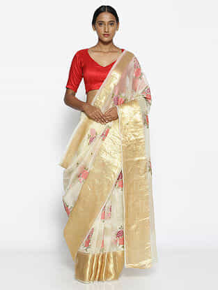 Ivory-Red Embroidered Organza Saree with Zari