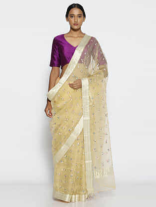 Ivory Embroidered Organza Saree with Zari