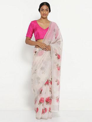 Ivory-Pink Printed Organza Saree with Zari