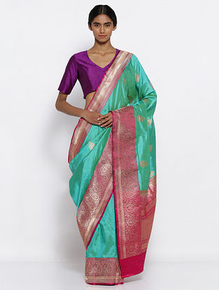 Blue-Pink Benarasi Silk Saree