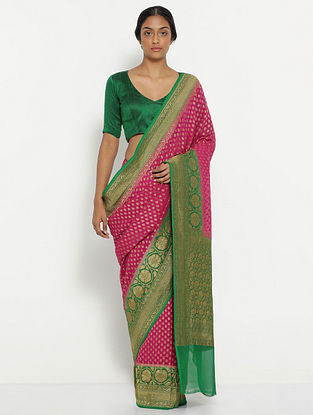 Pink-Green Benarasi Georgette Saree