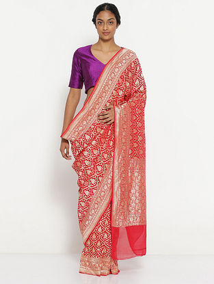 Red Benarasi Georgette Saree