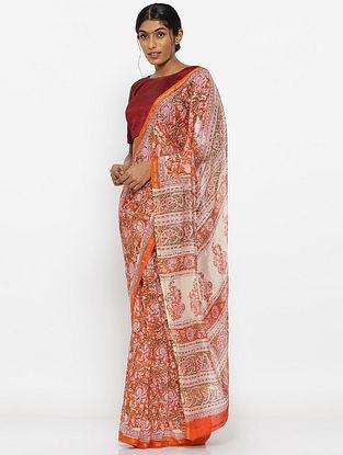 Red-Ivory Printed Silk Cotton Saree