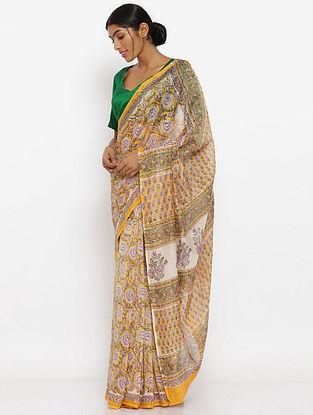 Ivory-Yellow Printed Silk Cotton Saree