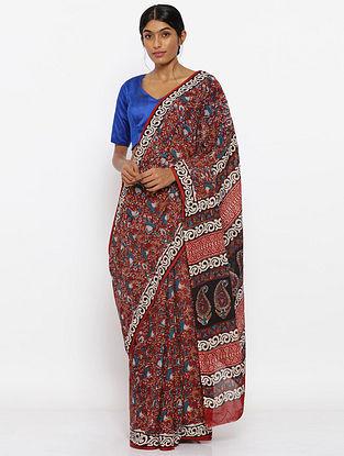 Red-Blue Printed Cotton Saree