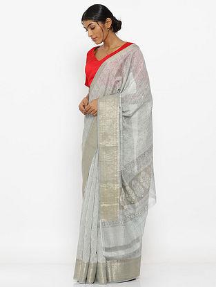 Grey Printed Silk Cotton Saree with Zari