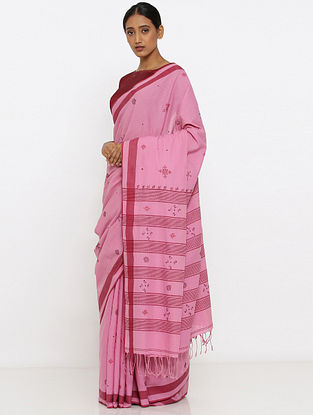 Pink-Red Embroidered Cotton Saree