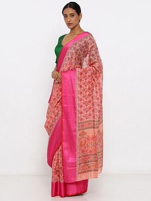 Peach-Pink Printed Silk Cotton Saree