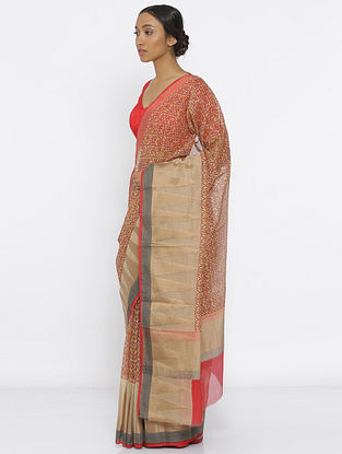 Beige-Red Printed Cotton Saree with Zari