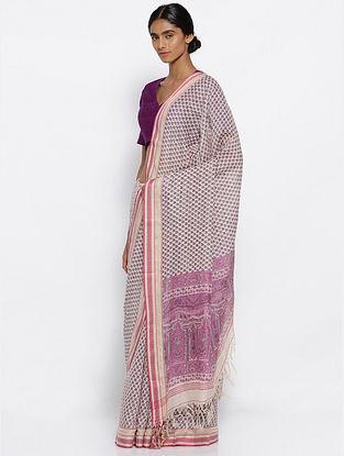 Ivory-Pink Printed Cotton Saree