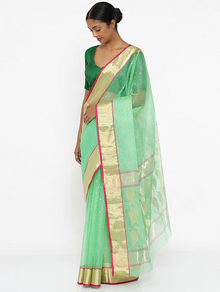 Green Silk Saree with Zari