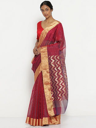 Maroon Silk Cotton Saree with Zari