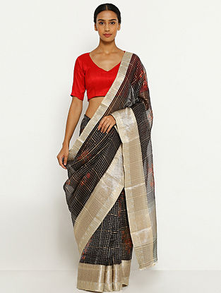 Black Printed Organza Silk Saree with Zari