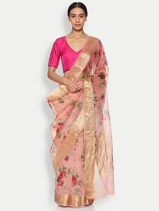 Pink Printed Organza Silk Saree with Zari