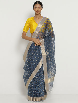 Blue Embroidered Organza Silk Saree with Zari