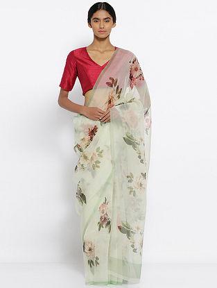 Green Printed Organza Silk Saree