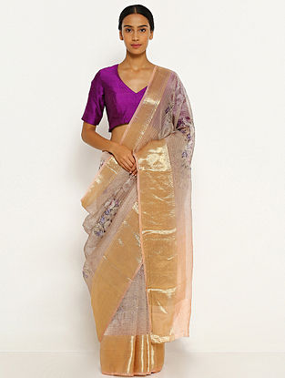Purple Printed Organza Silk Saree with Zari