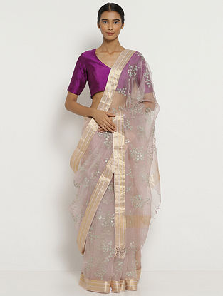 Purple Organza Silk Saree with Zari