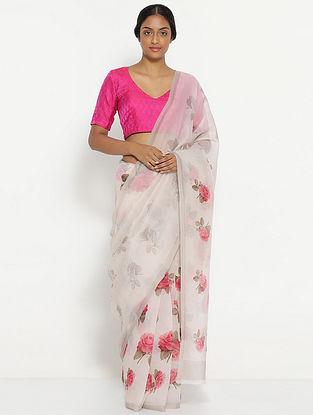 White-Pink Printed Organza Silk Saree