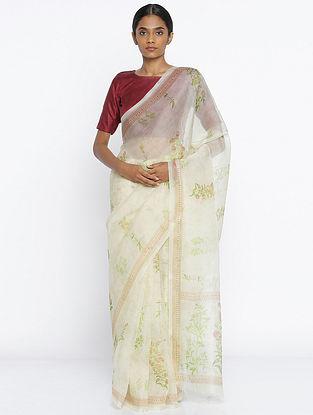 Ivory-Green Printed Organza Silk Saree