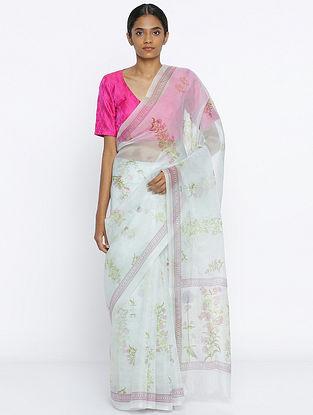 Ivory-Pink Printed Organza Silk Saree