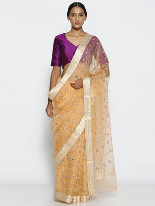 Beige Embroidered Organza Silk Saree with Zari