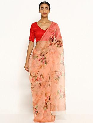 Peach Printed Organza Silk Saree