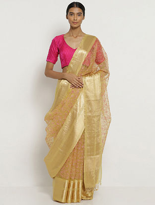 Yellow Embroidered Organza Silk Saree
