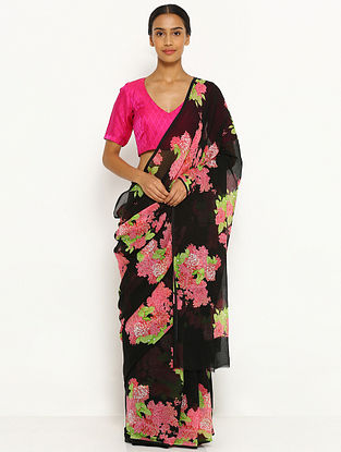 Black-Pink Printed Chiffon Saree