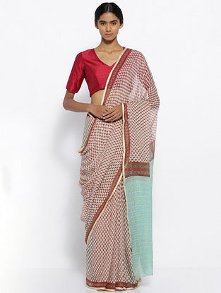 White-Red Printed Chiffon Saree
