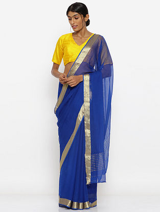 Blue Chiffon Saree with Zari Border