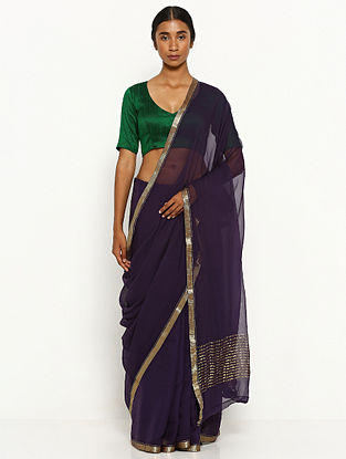 Purple Chiffon Saree with Zari Border
