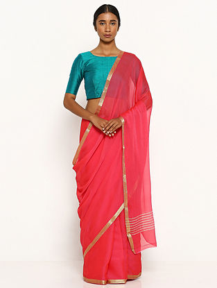 Pink Chiffon Saree with Zari Border