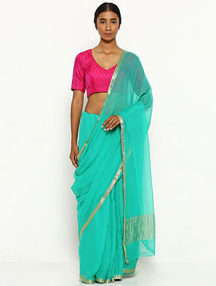 Green Chiffon Saree with Zari Border
