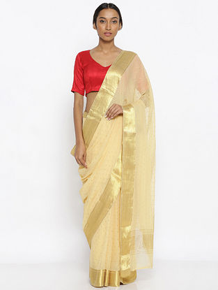Beige Chiffon Saree with Zari Border
