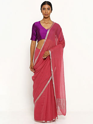 Red Embellished Chiffon Saree with Zari Border