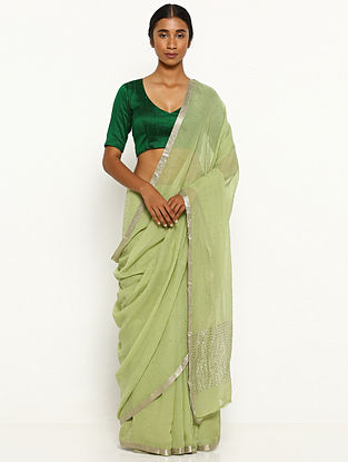 Green Embellished Chiffon Saree with Zari Border