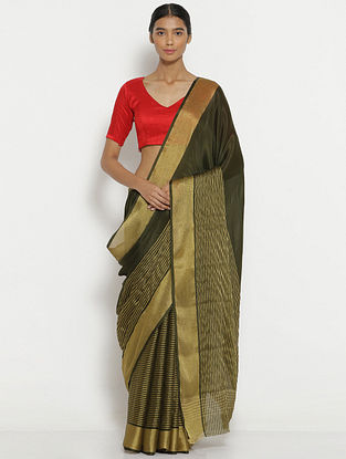 Green Crepe Saree with Zari Border