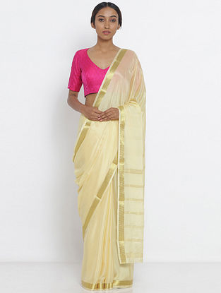 Ivory Crepe Saree with Zari Border