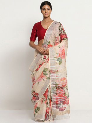 Ivory-Red Printed Linen Saree with Zari