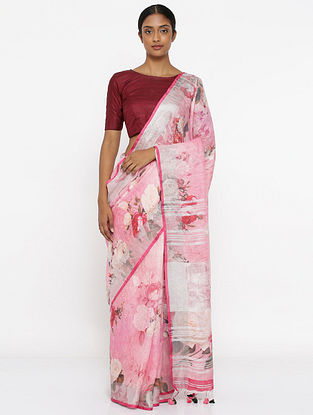 Pink-Ivory Printed Linen Saree with Zari and Tassels