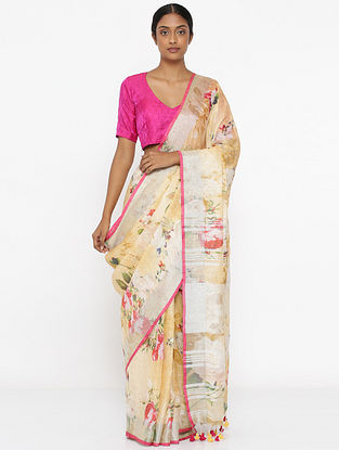 Yellow-Red Printed Linen Saree with Zari and Tassels