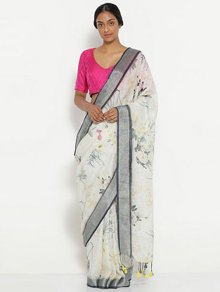 Ivory-Grey Printed Linen Saree with Tassels