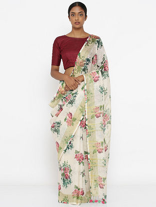 Ivory-Green Printed Linen Saree with Zari