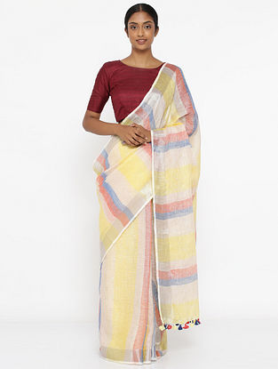 Yellow-Red Linen Saree with Zari and Tassels