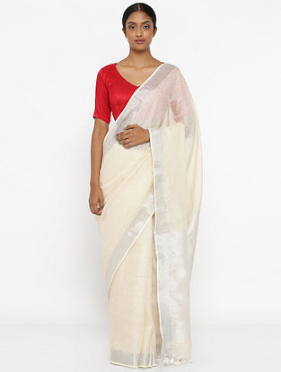 Ivory Linen Saree with Zari and Tassels