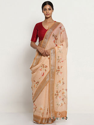Beige-Red Printed Linen Saree with Zari and Tassels